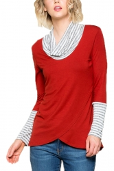 Womens Stripe Cowl Neck Long Sleeve Asymmetrical Hem Sweatshirt Red