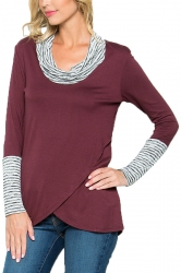 Womens Stripe Cowl Neck Long Sleeve Asymmetrical Hem Sweatshirt Ruby