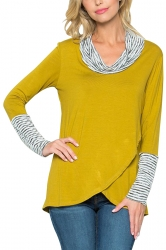 Womens Stripe Cowl Neck Long Sleeve Asymmetrical Hem Sweatshirt Yellow