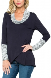 Stripe Cowl Neck Long Sleeve Asymmetrical Hem Sweatshirt Navy Blue