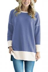 Womens Crew Neck Long Sleeve Color Block Loose Sweatshirt Light Blue