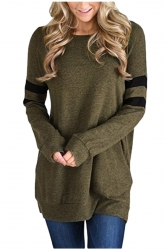 Womens Crew Neck Long Stripe Sleeve Loose Plain Sweatshirt Army Green