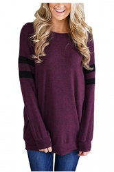Womens Crew Neck Long Stripe Sleeve Loose Plain Sweatshirt Purple