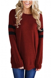 Womens Casual Crew Neck Long Stripe Sleeve Loose Plain Sweatshirt Ruby