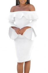 Womens Sexy Off Shoulder Ruffle Collar Bell Sleeve Bodycon Dress White