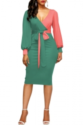 Womens V-Neck Waist Tie Puff Sleeve Color Block Bodycon Dress Green