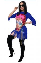 Womens Stylish 3/4 Length Sleeve Fringe Crew Neck Printed Dress Blue