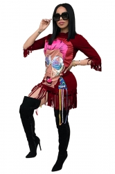 Womens Stylish 3/4 Length Sleeve Fringe Crew Neck Printed Dress Ruby