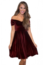 Womens Sexy Off Shoulder Short Sleeve Plain Cocktail Dress Ruby