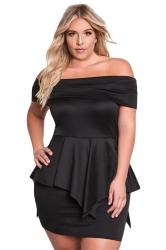 Womens Sexy Plus Size Off Shoulder Ruffle Plain Peplum Dress Black