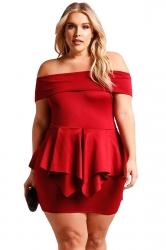 Womens Sexy Plus Size Off Shoulder Ruffle Plain Peplum Dress Red