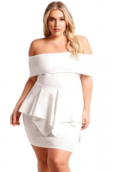 Womens Sexy Plus Size Off Shoulder Ruffle Plain Peplum Dress White