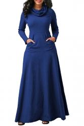 Womens Cowl Neck Kangaroo Pocket Long Sleeve Plain Maxi Dress Blue