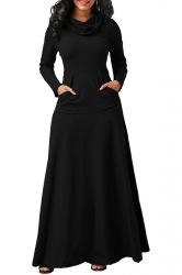 Womens Cowl Neck Kangaroo Pocket Long Sleeve Plain Maxi Dress Black