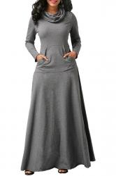 Womens Cowl Neck Kangaroo Pocket Long Sleeve Plain Maxi Dress Gray