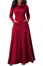 Womens Cowl Neck Kangaroo Pocket Long Sleeve Plain Maxi Dress Red