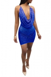 Womens Sexy Cowl Neck Sequin Sheer Backless Spaghetti Strap Dress Blue
