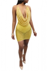 Womens Sexy Cowl Neck Sequin Sheer Backless Spaghetti Strap Dress Gold