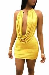 Womens Sexy Backless Cowl Neck Ruffle Plain Clubwear Dress Yellow