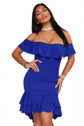Womens Sexy Off Shoulder Ruffle High Low Plain Bodycon Dress Blue