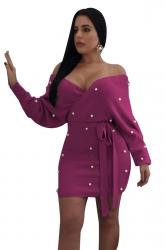 Womens Sexy Off Shoulder Waist Tie Backless Studded Dress Purple