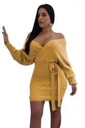 Womens Sexy Off Shoulder Waist Tie Backless Studded Dress Yellow