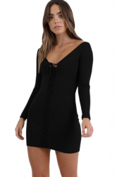 Womens Sexy V-Neck Lace Up Long Sleeve Plain Bodycon Dress Black