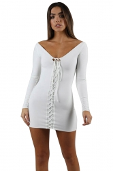Womens Sexy V-Neck Lace Up Long Sleeve Plain Bodycon Dress White