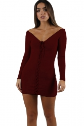 Womens Sexy V-Neck Lace Up Long Sleeve Plain Bodycon Dress Ruby