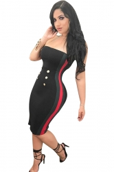 Womens Sexy Button Striped Midi Bodycon Tube Dress Black