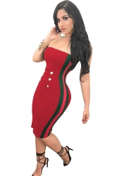 Womens Sexy Button Striped Midi Bodycon Tube Dress Ruby