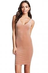 Womens Sexy V-Neck Bodycon Plain Midi Tank Dress Pink