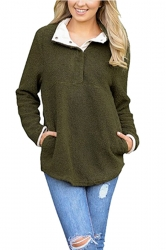 Womens Pocket Long Sleeve Turndown Collar Eyelet Sweatshirt Green