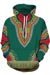 Womens Slant Pocket Drawstring Ethnic Printed Hoodie Dark Green