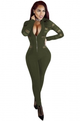Womens Sexy Deep V Neck Long Sleeve Mesh Patchwork Jumpsuit Army Green