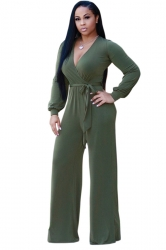 Sexy V-Neck Long Sleeve Belt Loose Wide Legs Plain Jumpsuit Army Green
