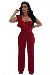 Womens Sexy One Shoulder Sleeveless Ruffle Hem Wide Legs Jumpsuit Red