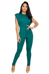 Womens Sexy Sleeveless Backless String Of Pearls Back Jumpsuit Green