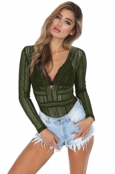 Womens Sexy V Neck Long Sleeve Backless Sheer Lace Bodysuit Army Green