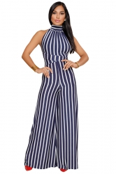 Womens Halter Sleeveless With Waist Tie Wide Legs Stripe Jumpsuit Blue