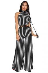 Womens High Neck Halter With Waist Tie Wide Legs Stripe Jumpsuit Black
