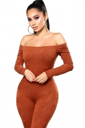 Womens Off Shoulder Long Sleeve Knit Plain Fitting Jumpsuit Orange