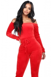Womens Sexy Off Shoulder Long Sleeve Knit Plain Fitting Jumpsuit Red
