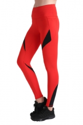 Womens Close-Fitting Elastic Color Block High Waisted Leggings Red