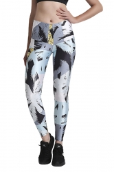 Womens Elastic Skinny High Waisted Printed Leggings Black And White