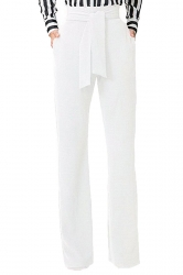 Womens Elegant High Waist With Belt Wide Legs Leisure Pants White