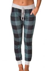 Womens High Waist Plus Size Plaid Color Block Leisure Pants Green