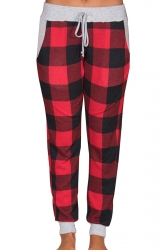 Womens Casual Drawstring Plus Size Plaid Color Block Leisure Pants Red