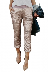 Womens High Waist Color Block Pocket Sequined Leisure Capri Pants Gold