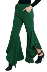 Womens Close-Fitting Pocket Ruffle Hem Plain Bell Pants Green